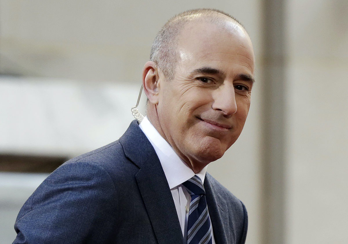 "Matt Lauer, co-host of the NBC ""Today"" television program, appears on set in Rockefeller Plaza, in New York —April 21, 2016 (AP Photo/Richard Drew, File)"