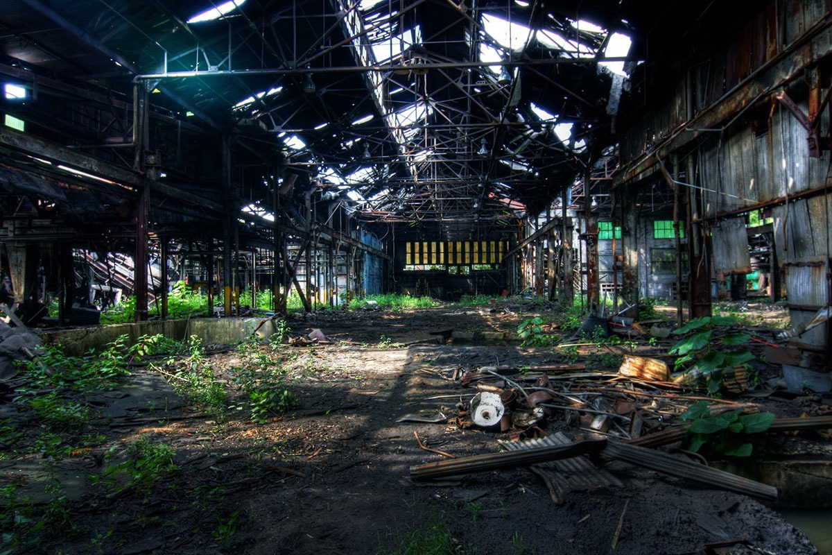 ruins of a steel warehouse