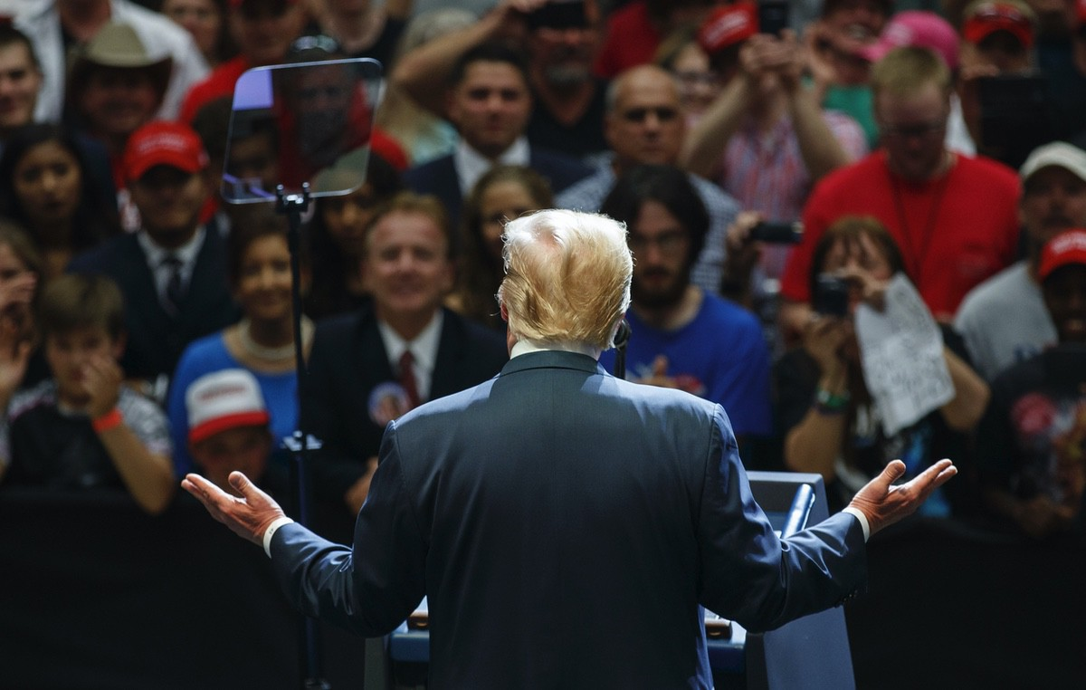 President Donald Trump speaks at the North Side Gymnasium in Elkhart, Ind., Thursday, May 10, 2018, during a campaign rally. (AP Photo/Carolyn Kaster)