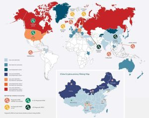 Global crypto mining hubs in 2017 according to Global Cryptocurrency Benchmarking Study, Hileman and Rauchs