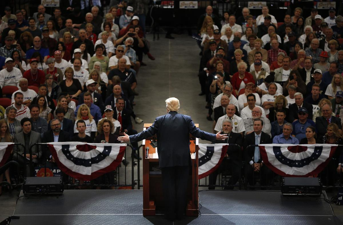 Donald Trump speaks at a campaign rally Monday, Feb. 22, 2016, in Las Vegas. (AP Photo/John Locher)
