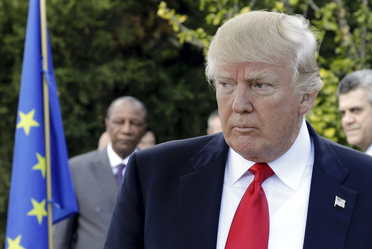 U.S. President Donald Trump attends a G7 session in the Sicilian town of Taormina, Italy, Saturday, May 27, 2017. (AP Photo/Andrew Medichini)