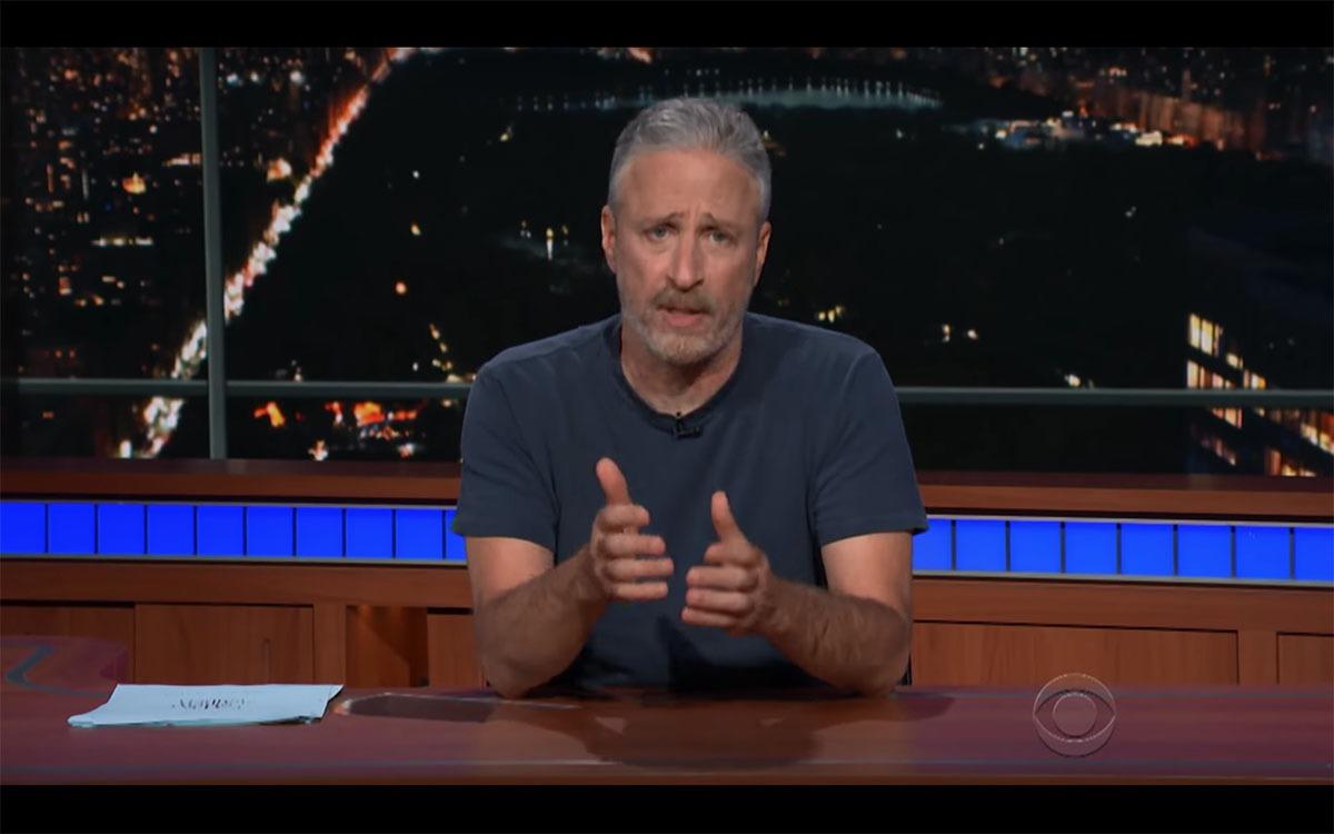 Screenshot of Jon Stewart on The Late Show