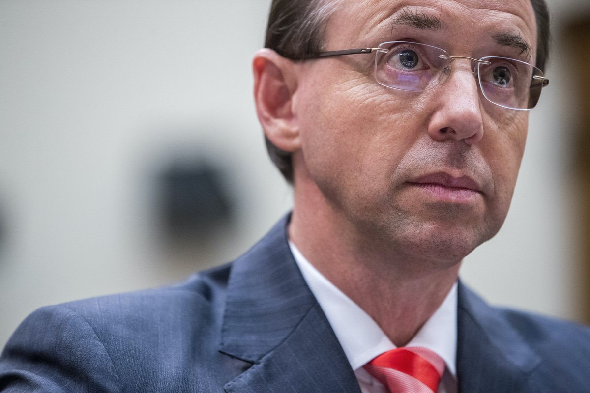 Deputy Attorney General Rod Rosenstein appears at a House Judiciary Committee hearing on Capitol Hill in Washington, Thursday, June 28, 2018, on Justice Department and FBI actions around the 2016 presidential election. (AP Photo/Andrew Harnik)
