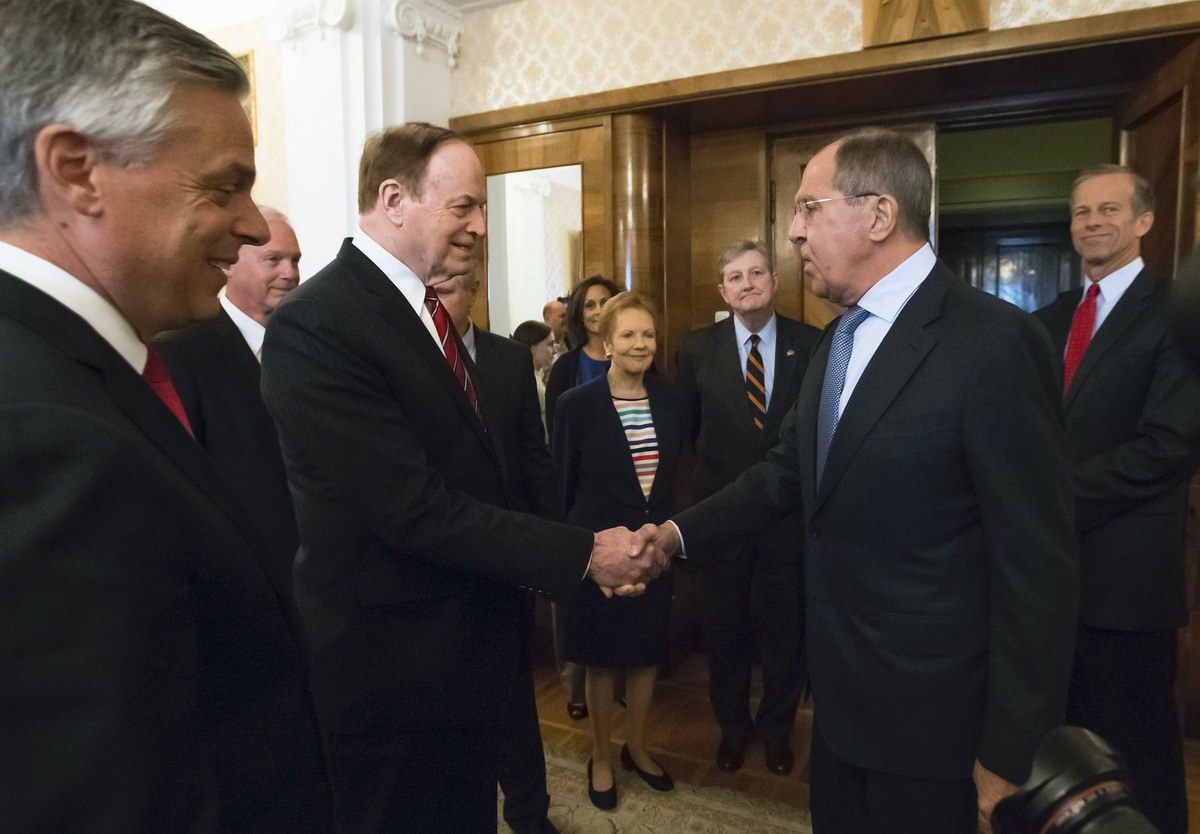 Russian Foreign Minister Sergey Lavrov, second right, greets U.S. Sen. Richard Shelby, R-Ala., during his meeting with the U.S. congressional delegation in Moscow, Russia, Tuesday, July 3, 2018. (AP Photo/Alexander Zemlianichenko)