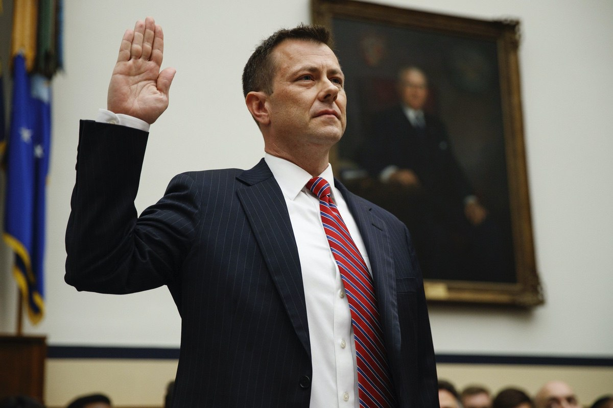 "FBI Deputy Assistant Director Peter Strzok is sworn in before the House Committees on the Judiciary and Oversight and Government Reform during a hearing on ""Oversight of FBI and DOJ Actions Surrounding the 2016 Election,"" on Capitol Hill, Thursday, July 12, 2018, in Washington. (AP Photo/Evan Vucci)"