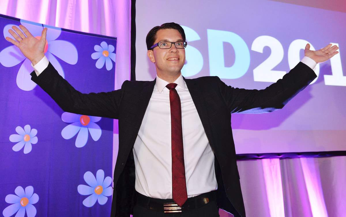 Sweden Democrats Party leader Jimmie Åksesson celebrates at the election night party in Stockholm, Sweden. Sunday Sept. 14, 2014 file photo (AP Photo/News Agency TT, Anders Wiklund, File) SWEDEN OUT