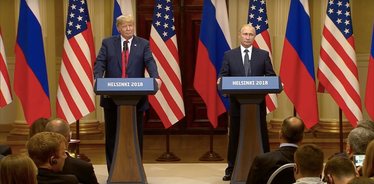 US President Donald Trump And Russian President Vladimir Putin holding a press conference after their one-on-one meeting in Helsinki, Finland