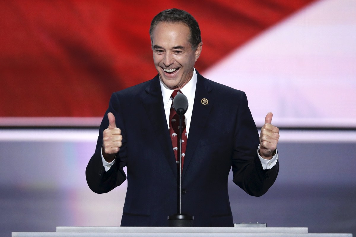 Rep. Chris Collins, R-NY., nominates Donald Trump as the Republican candidate for President during the second day of the Republican National Convention in Cleveland, Tuesday, July 19, 2016. (AP Photo/J. Scott Applewhite)