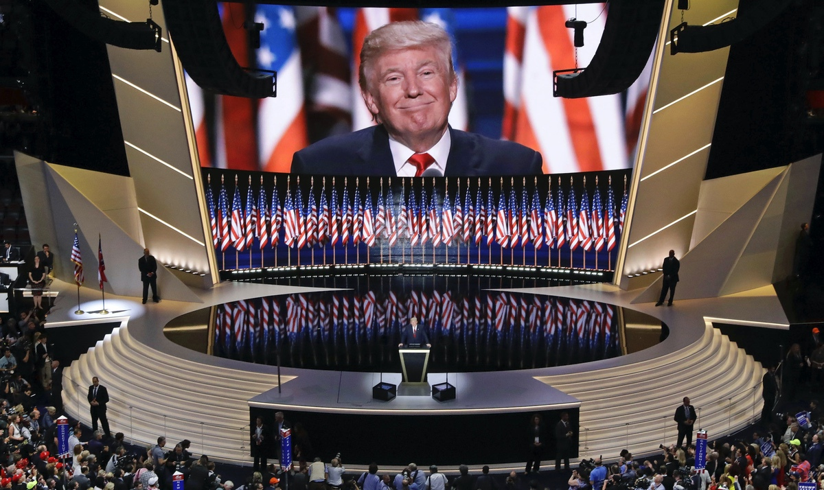 Donald Trump smiles as he addresses delegates during the final day session of the Republican National Convention in Cleveland. July 21, 2016. (AP Photo/Patrick Semansky)