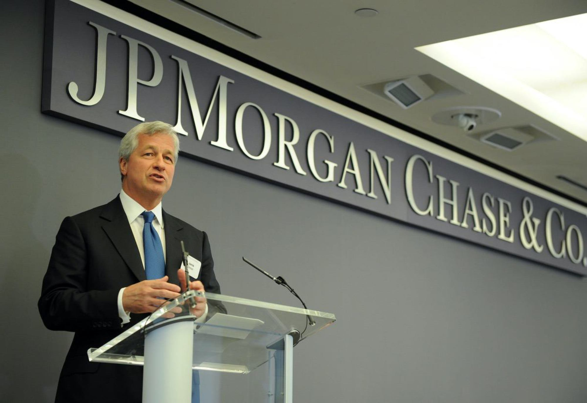 Jamie Dimon, JP Morgan & Chase Co. Chairman and CEO Monday, June 23, 2014, at JPMorgan Chase Headquarters in New York. JP Morgan's risk management office lost 6.2 Billion in derivatives in 2012. (Photo by Diane Bondareff/Invision for JPMorgan Chase/AP Images)