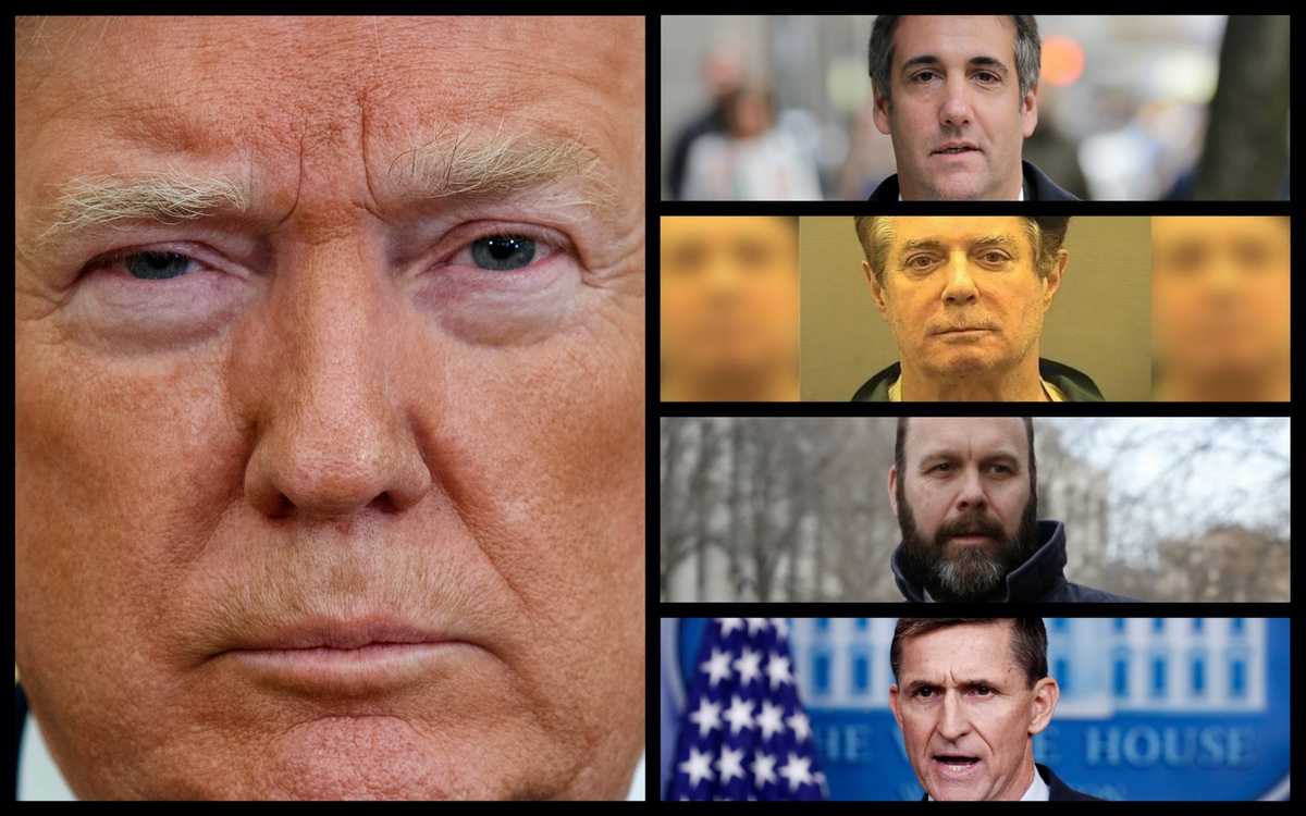 President Donald Trump, Michael Cohen, Paul Manafort, Rick Gates, and Michael Flynn. (Rantt Media/AP)