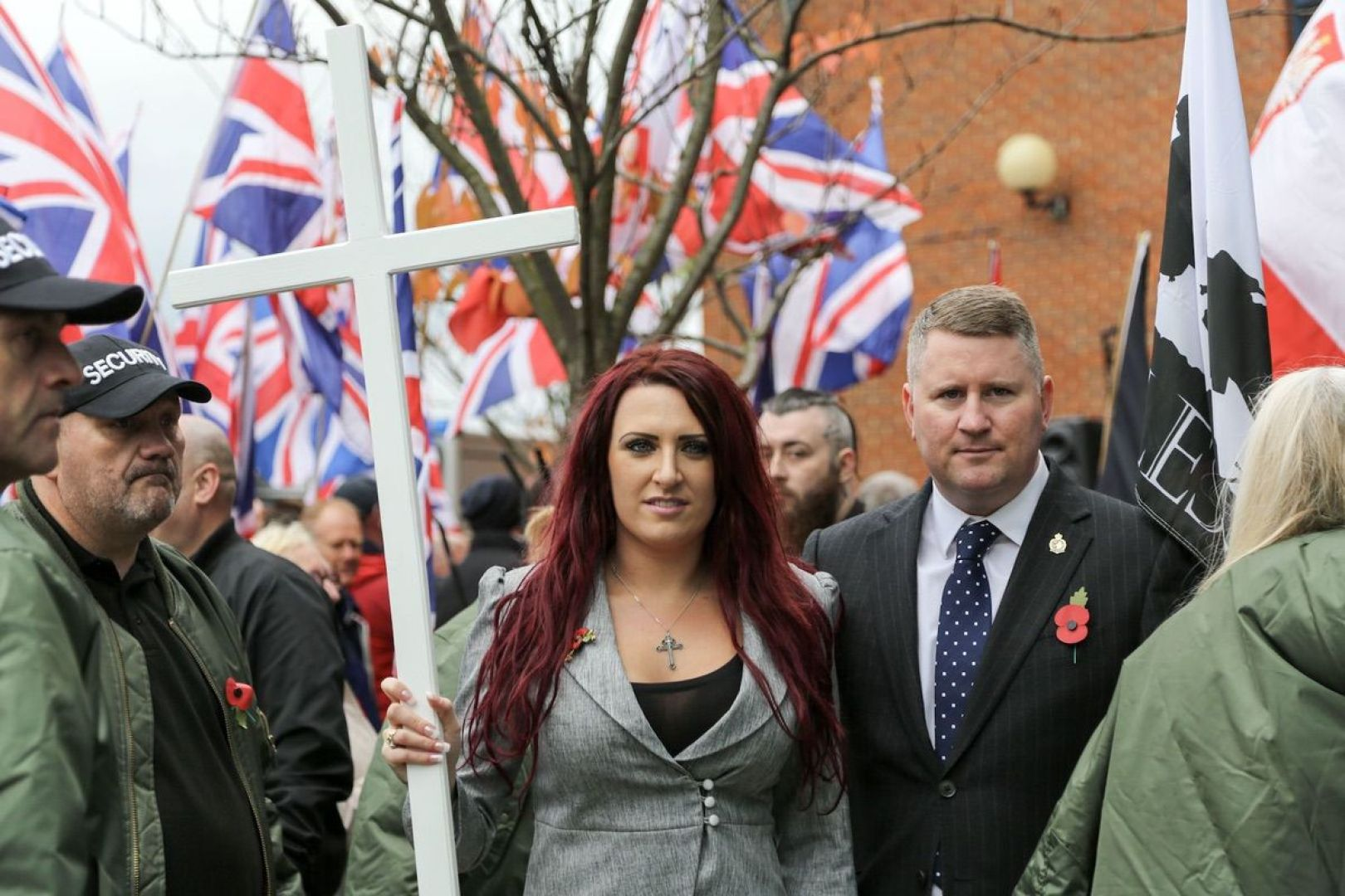 Jayda Fransen and Paul Goulding, leaders of the far right group Britain First, at a rally in London on November 4, 2017. (Associated Press)
