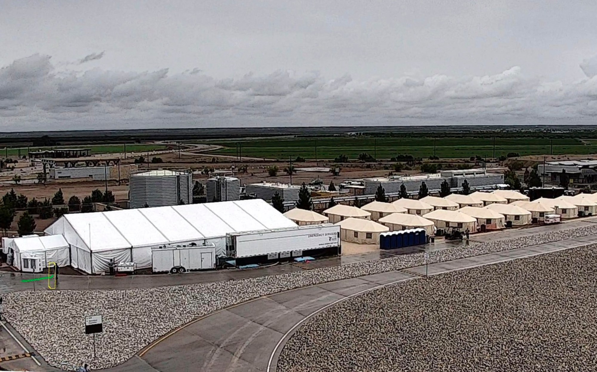 This undated file photo provided by HHS' Administration for Children and Families shows the shelter used to house unaccompanied foreign children in Tornillo, Texas. A spokesman for the U.S. Department of Health and Human Services said Tuesday, Sept. 11, 2018, that the facility will be expanded to 3,800 beds from its initial capacity of 360 beds. (HHS' Administration for Children and Families via AP, File)