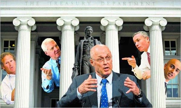 Treasury faces, from left: Steve Shafran (formerly of Goldman), Kendrick Wilson III (ditto), Henry Paulson Jr. (you guessed it), Edward Forst (yep) and Neel Kashkari (see a trend?) - (From The NewYork Times)