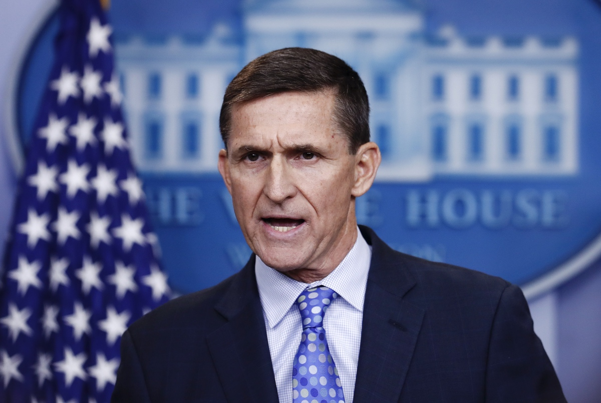 FILE – In this Feb. 1, 2017 file photo, National Security Adviser Michael Flynn speaks during the daily news briefing at the White House, in Washington. Trump says his former national security adviser is right to ask for immunity in exchange for talking about Russia. (AP Photo/Carolyn Kaster)