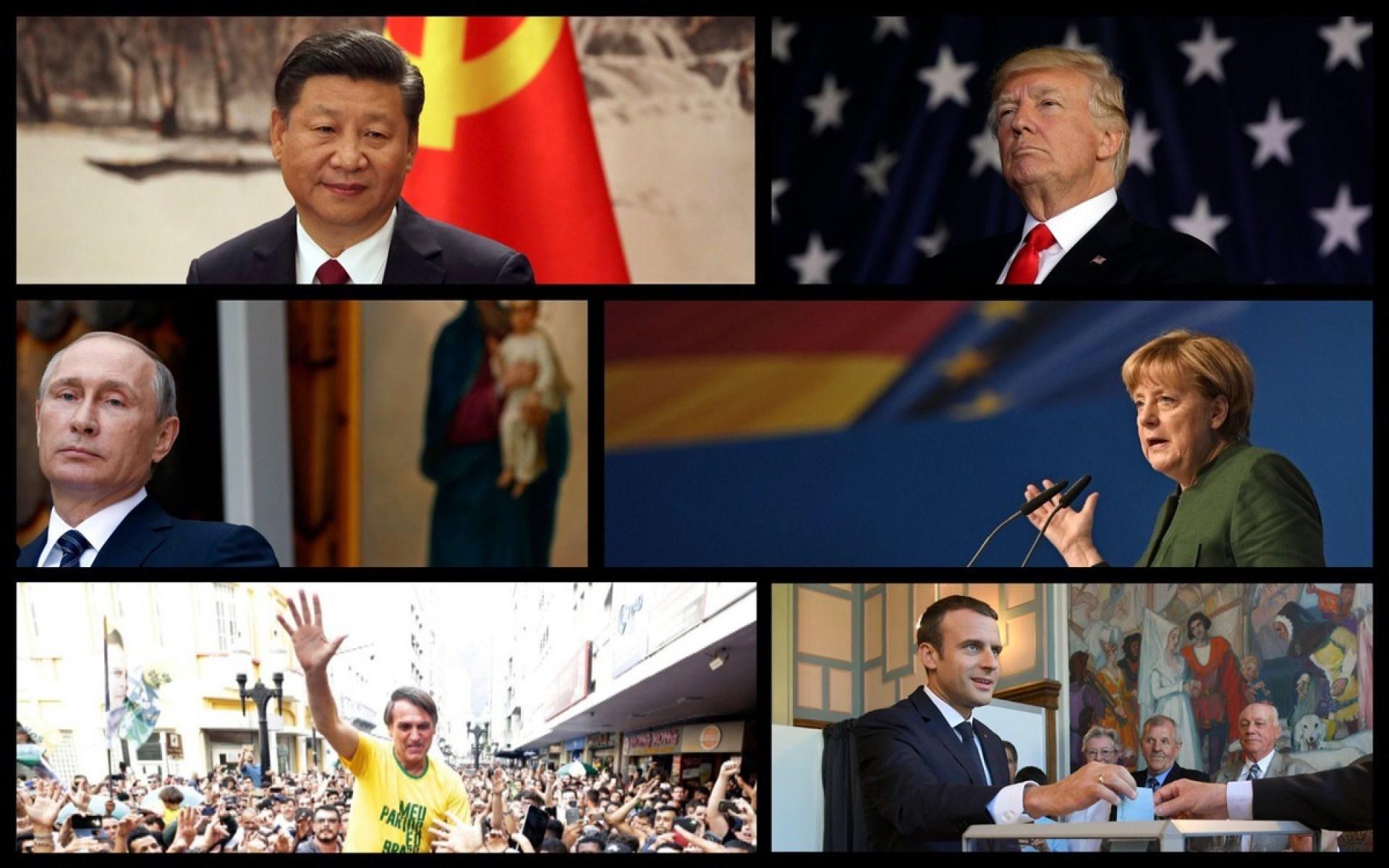 From Top Left: Chinese President Xi Jinping, US President Donald Trump, Russian President Vladimir Putin, German Chancellor Angela Merkel, Brazilian President-Elect Jair Bolsonaro, and French President Emmanuel Macron (Rantt Media/AP)