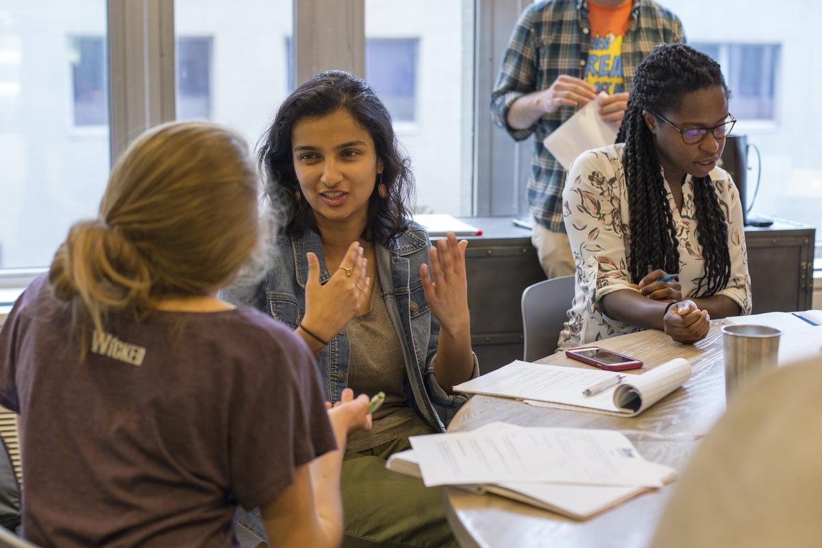 Rising Organizers Spring 2018 Fellows (from left) Chantelle, Aishwarya, and Emmanuela.