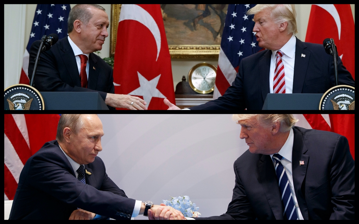 President Trump shaking hands with Turkish President Recep Tayyip Erdogan (top) and Russian President Vladimir Putin (bottom) - (AP)