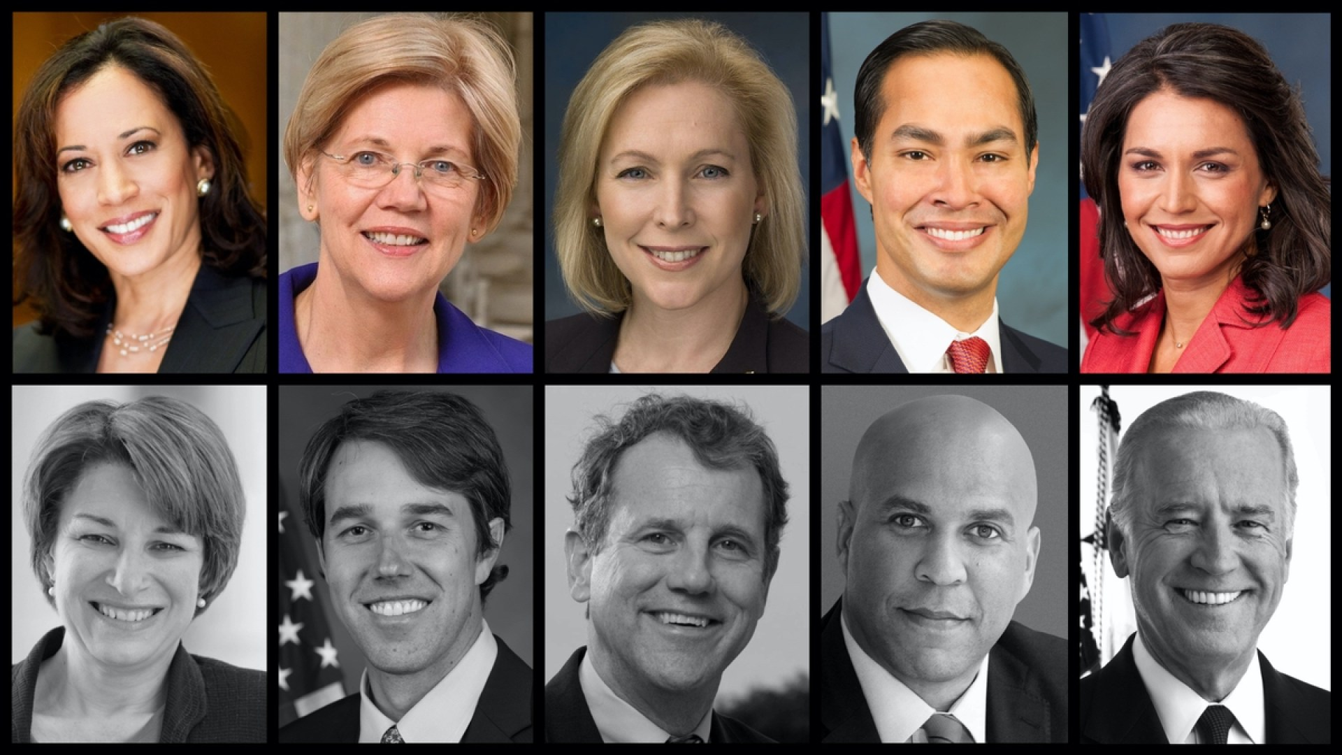 Top row announced candidates: Kamala Harris, Elizabeth Warren, Kirsten Gillibrand, Julian Castro, Tulsi Gabbard. Bottom row unannounced: Amy Klobuchar, Beto O'Rourke, Sherrod Brown, Cory Booker, and Joe Biden (Official Government Photos)