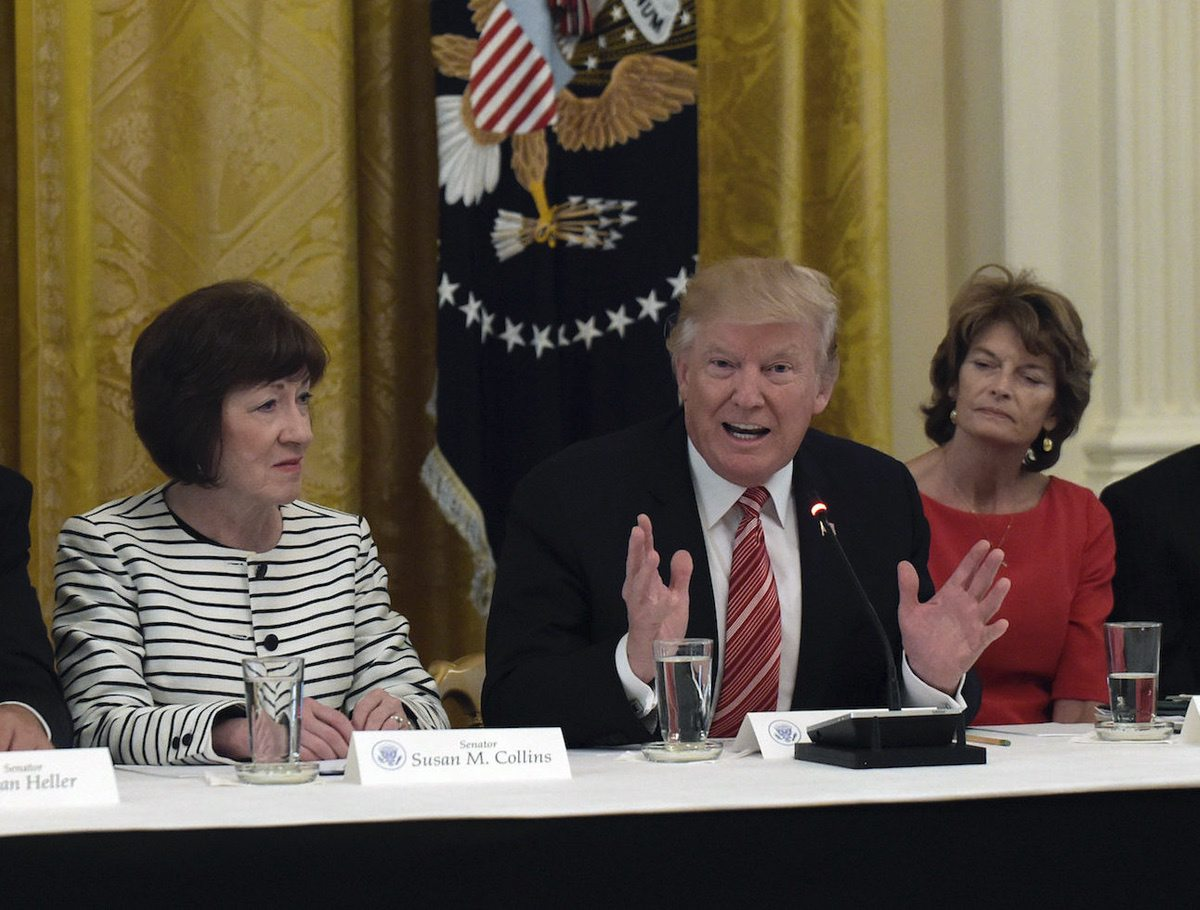 President Donald Trump, center, meets with Republican senators in the East Room of the White House in Washington, Tuesday, June 27, 2017. Seated with him, from left, Sen. Susan Collins, R-Maine and Sen. Lisa Murkowski, R-Alaska (AP Photo/Susan Walsh)