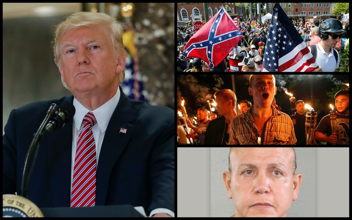 From Left: President Donald Trump at a press conference in Trump Tower in the aftermath of the Charlottesville rallies, Tuesday, Aug. 15, 2017 in New York. Right: White supremacists rallying in Charlottesville, VA, and the mugshot of MAGA Bomber Cesar Sayor Jr. (AP)