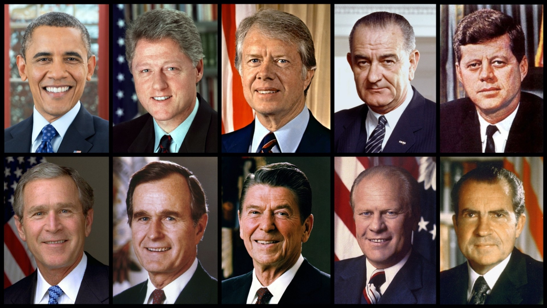 Democrats top row: President Obama, Clinton, Carter, Johnson, Kennedy. Republicans bottom row: President W. Bush, Bush, Reagan, Ford, Nixon. (Official White House Photos)
