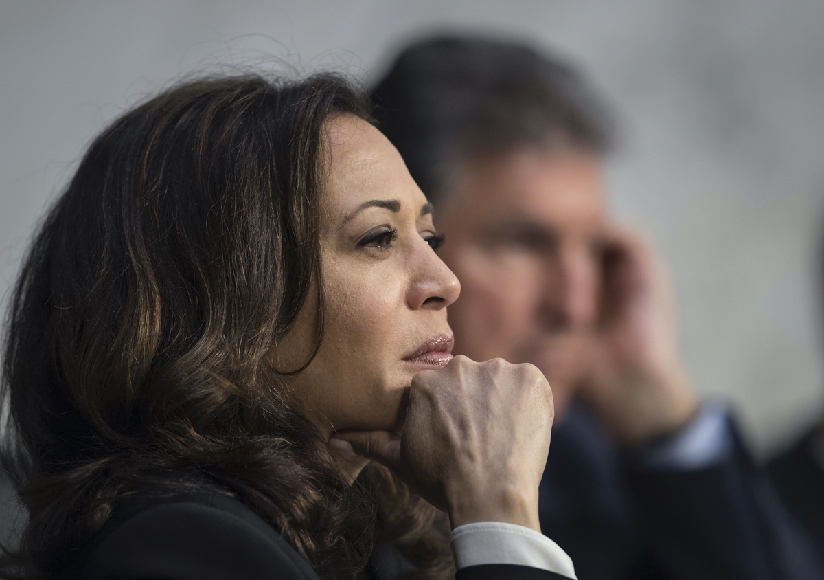 Sen. Kamala Harris, D-Calif., listens to testimony from top national security chiefs during a Senate Select Committee on Intelligence hearing on gathering intelligence on foreign agents, on Capitol Hill in Washington, Wednesday, June 7, 2017. (AP Photo/J. Scott Applewhite)