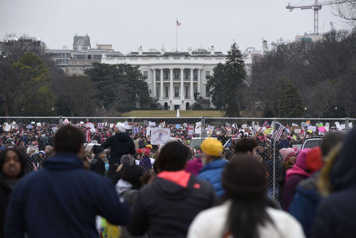 Demonstrators attend the Women's March on Washington near the White House. Jan. 21, 2017 (AP Photo/Sait Serkan Gurbuz)