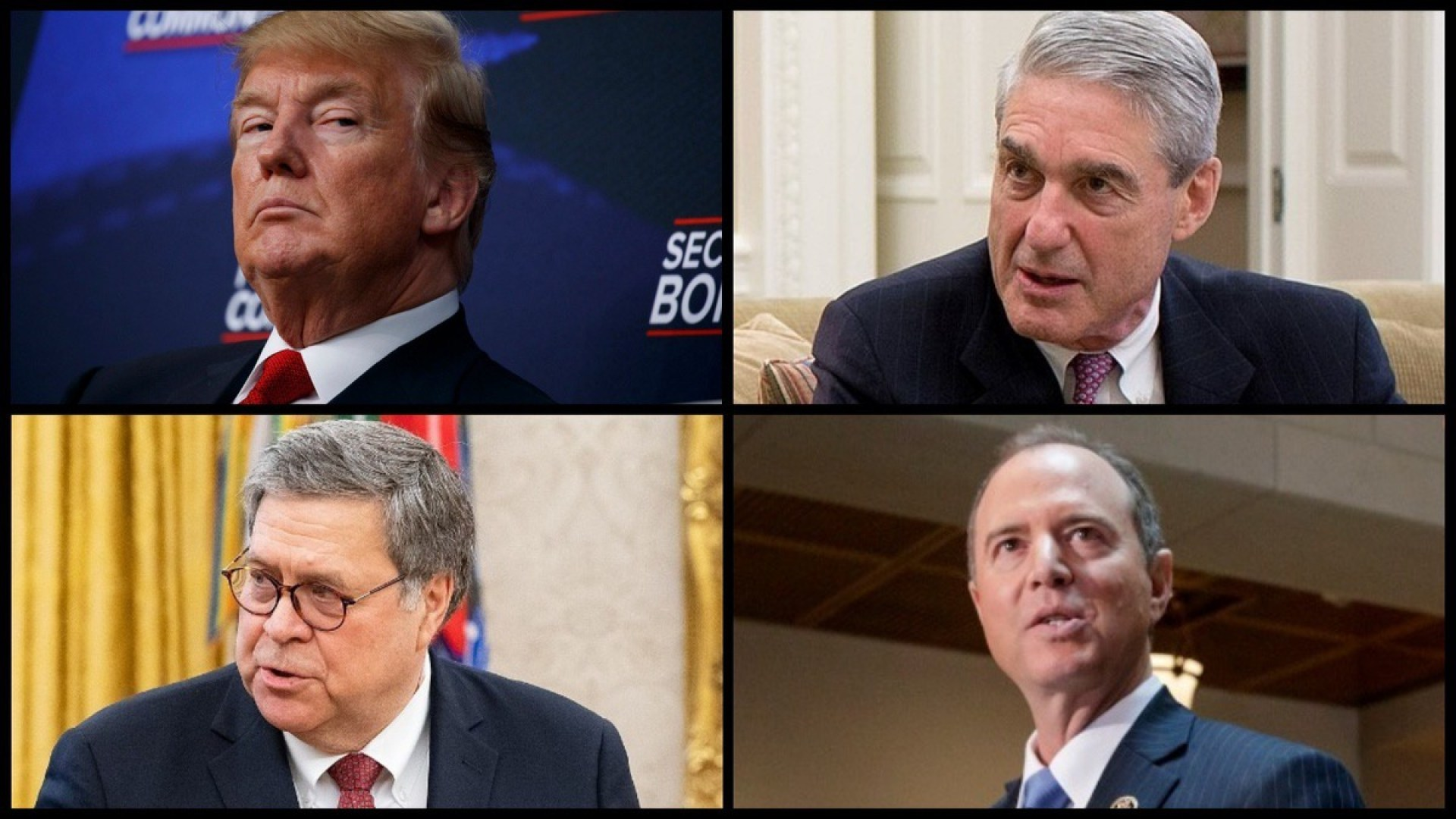 President Donald Trump, Special Counsel Robert Mueller, Attorney General William Barr, and House Intelligence Committee Chairman Adam Schiff (D-CA) (AP/White House)
