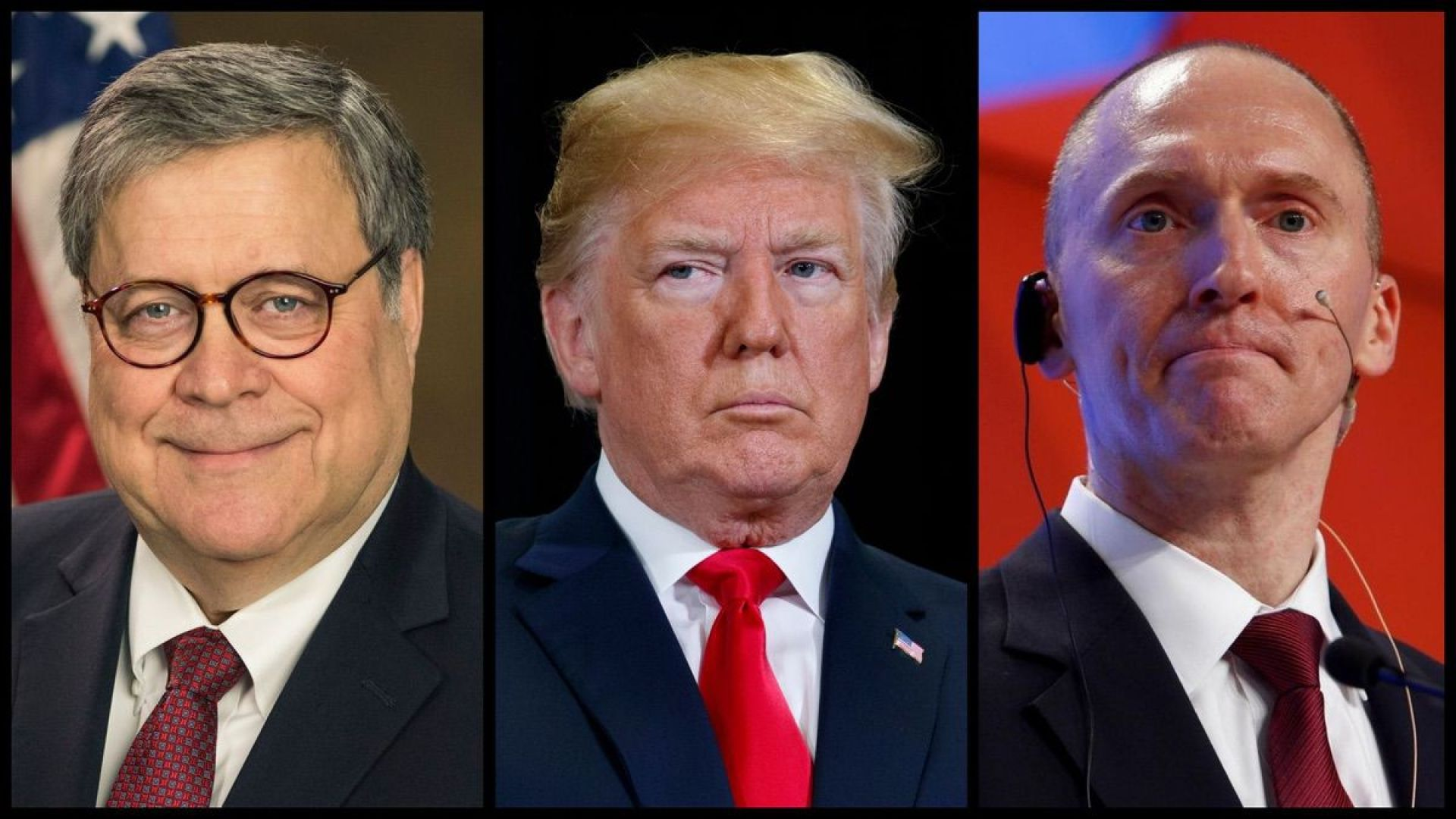 From left: Attorney General William Barr, President Donald Trump, and former Campaign Adviser Carter Page.