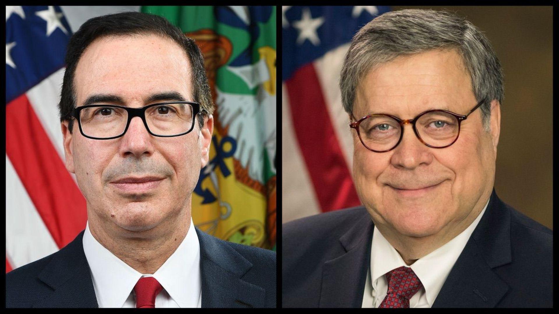 Treasury Secretary Steve Mnuchin and Attorney General William Barr (Official Photos)