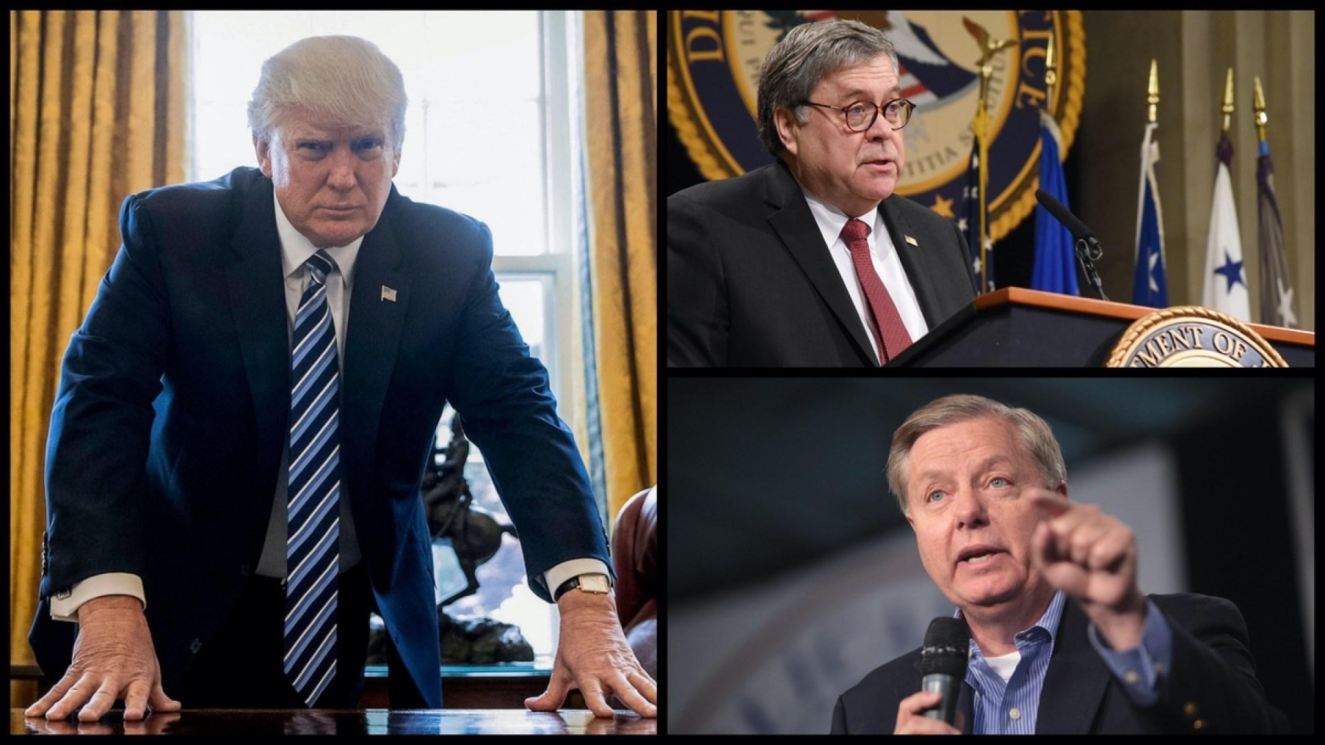 President Donald Trump, Attorney General William Barr, Senator Lindsey Graham (R-SC) (AP/Public Domain)