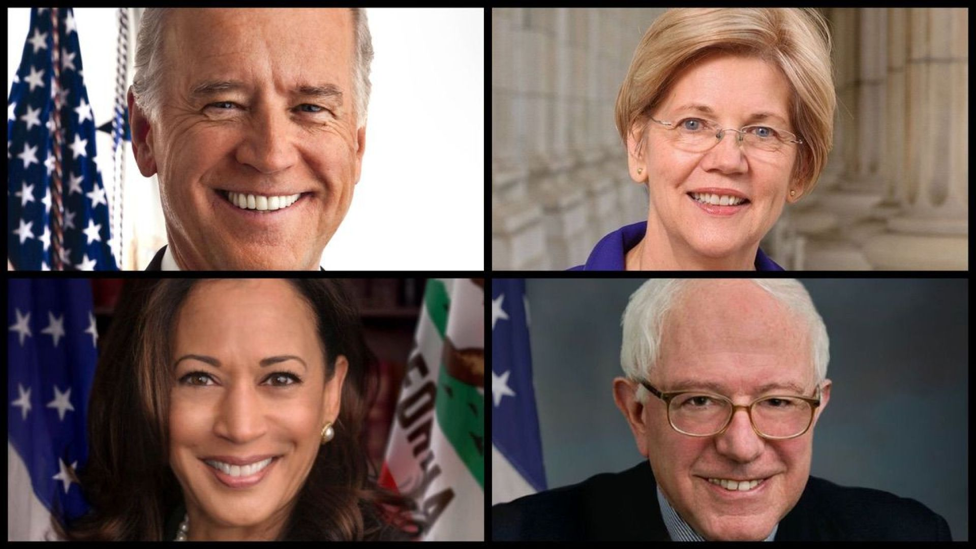 From top left: Joe Biden, Elizabeth Warren, Kamala Harris, Bernie Sanders