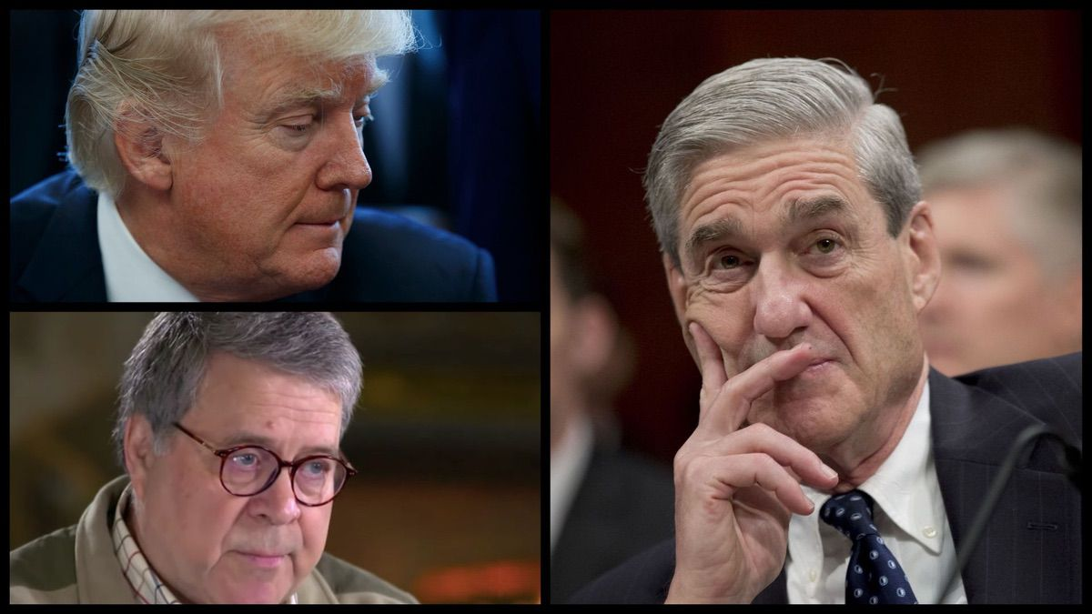 President Donald Trump, Attorney General William Barr, and Special Counsel Robert Mueller (AP/CBS)