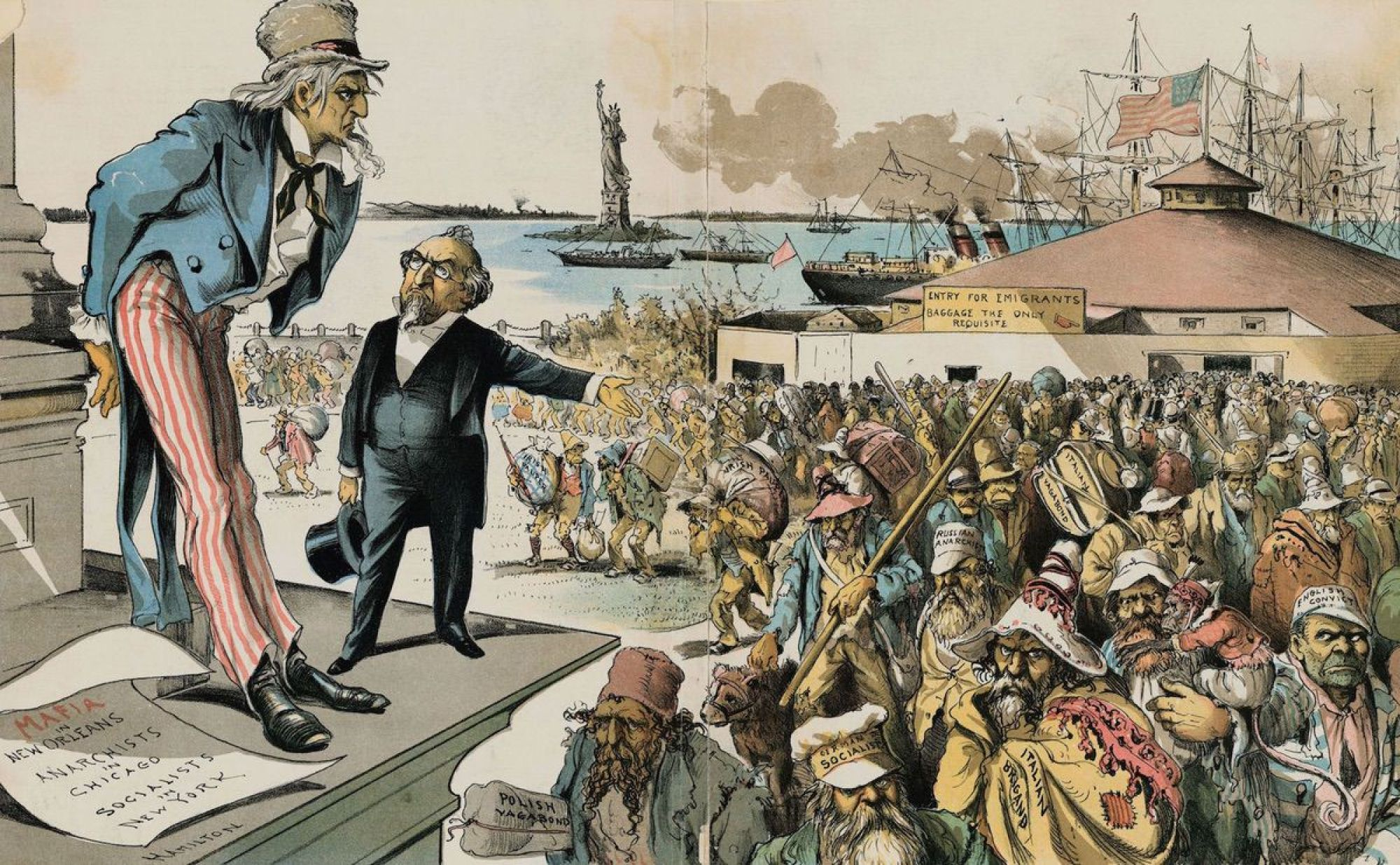 "Original caption: Where The Blame Lies. Judge (to Uncle Sam)--""If Immigration was properly Restricted you would no longer be troubled with Anarchy, Socialism, the Mafia and such kindred evils!"" 1891"