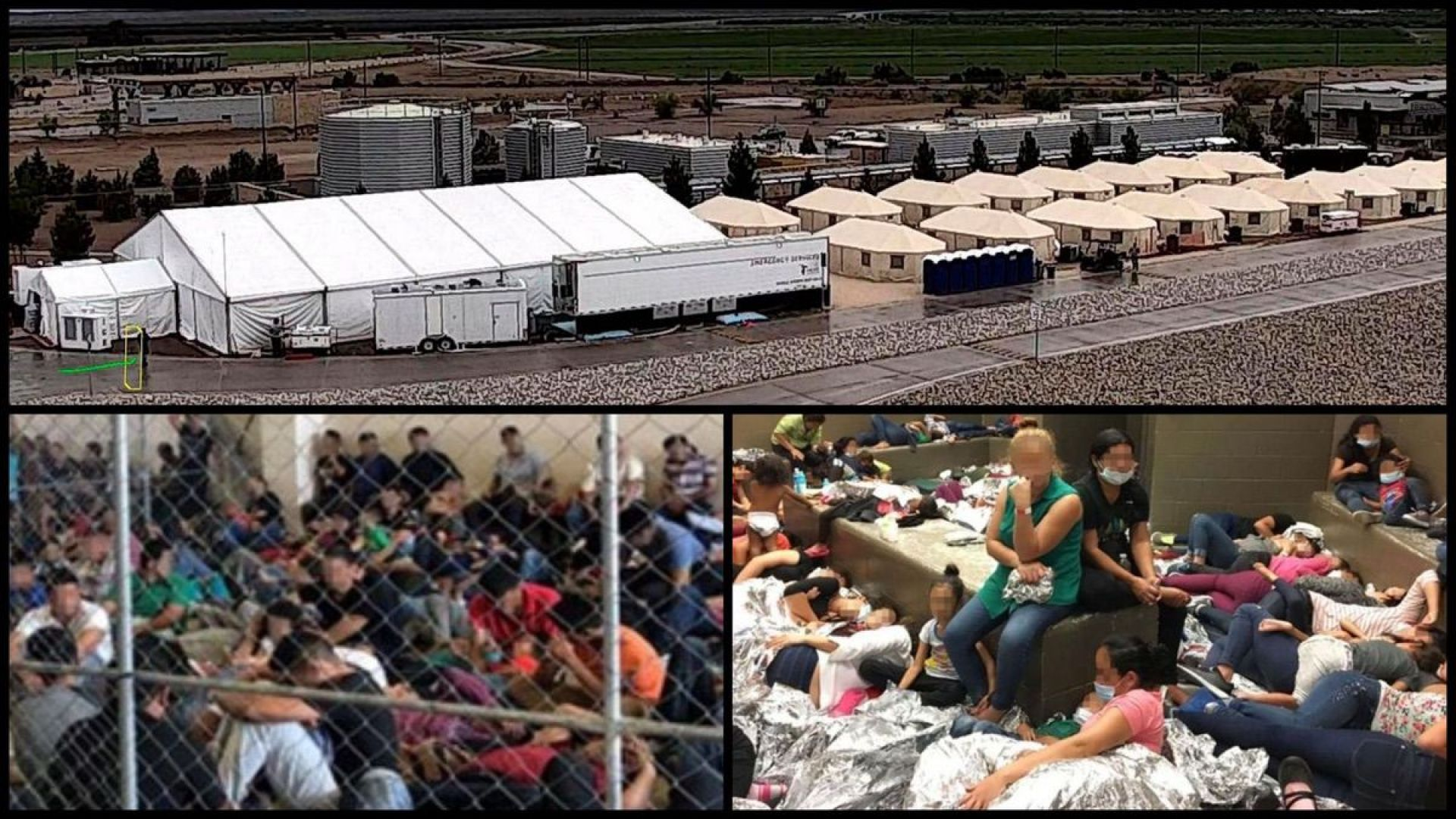 This undated photo of the shelters used to house unaccompanied foreign children in Tornillo, Texas. (HHS' Administration for Children and Families via AP). Overcrowding of families observed by OIG in June, 2019, at Centralized Processing Centers in Texas. (DHS Office of the Inspector General)