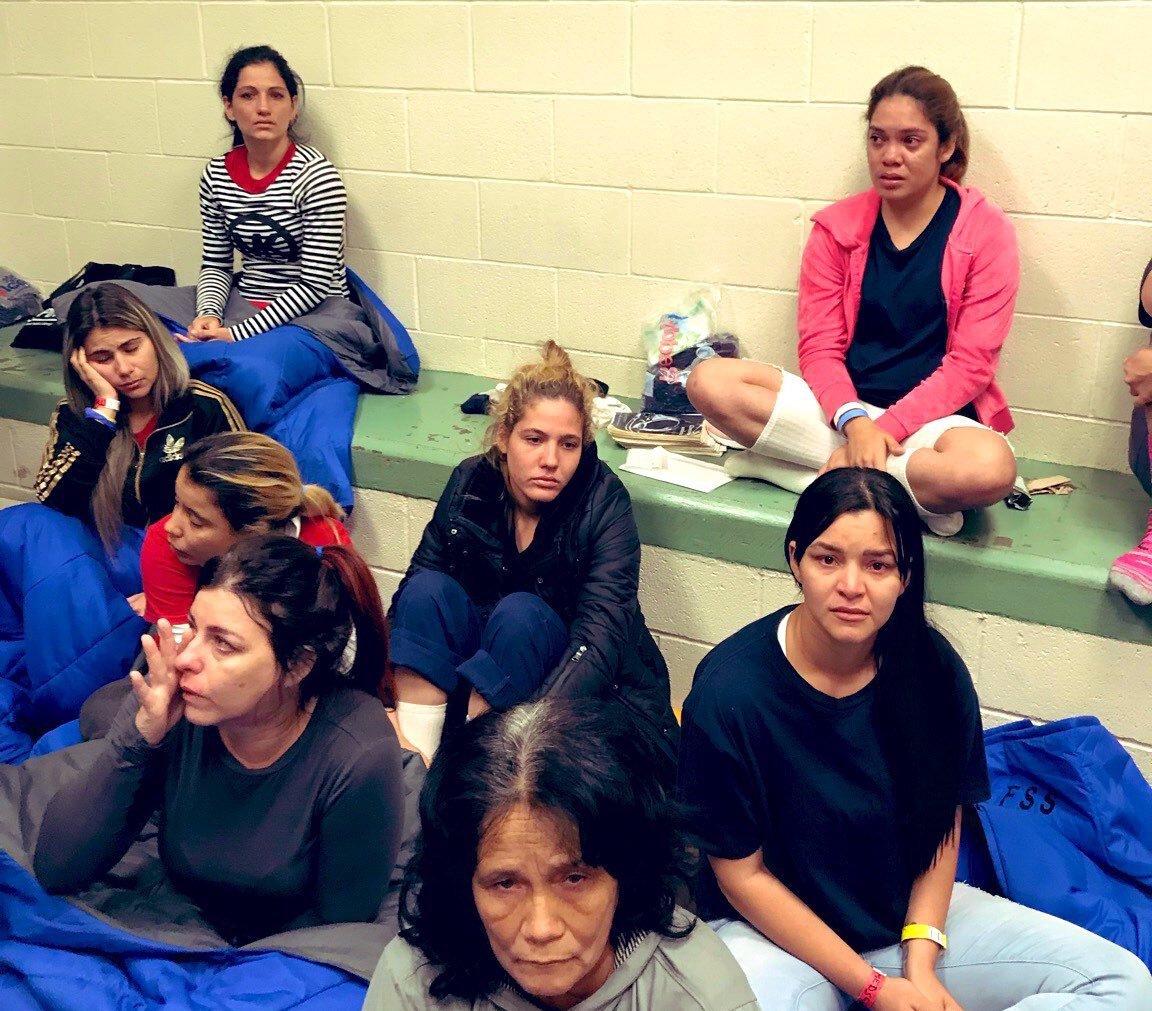 Migrant women in a detention facility in Texas (Source: Rep. Joaquin Castro)