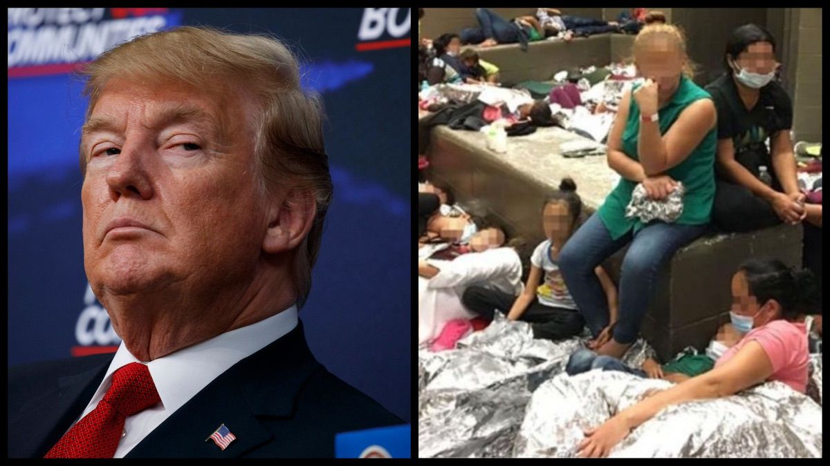 Left: President Trump (AP). Right: Overcrowding of families observed by OIG on June 11, 2019, at Border Patrol's McAllen, TX, Centralized Processing Center. (DHS Office of the Inspector General)