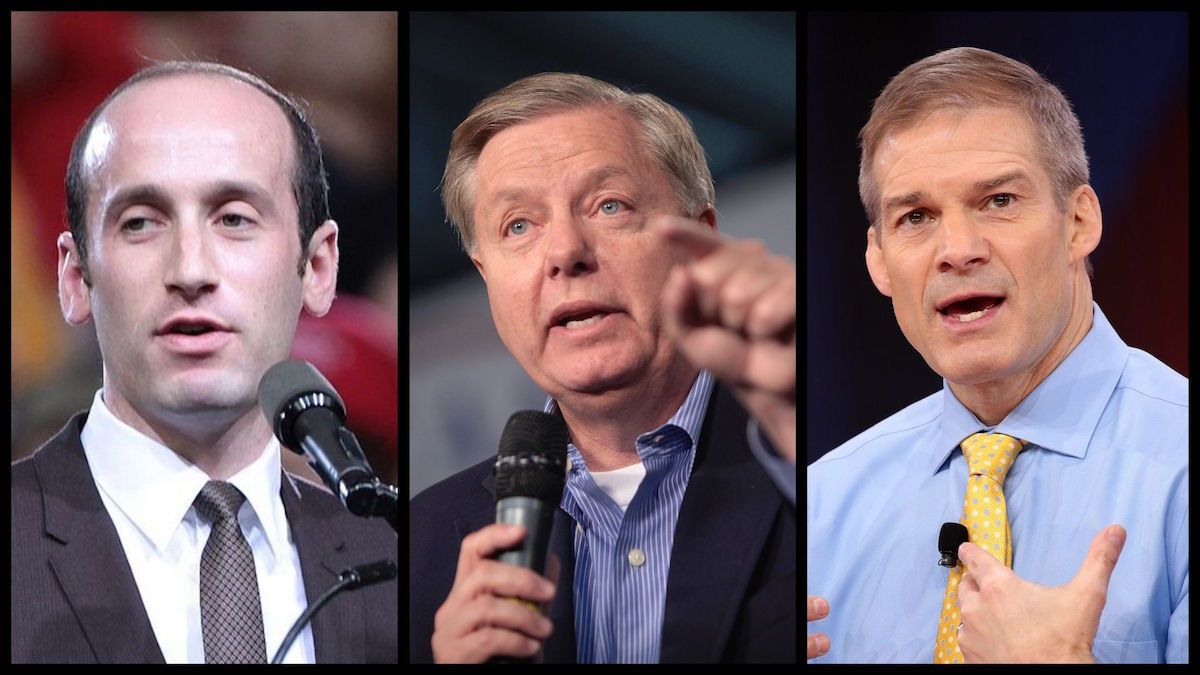 White House Adviser Stephen Miller, Senator Lindsey Graham (R-SC), and Jim Jordan (R-OH) - (Source: Gage Skidmore)