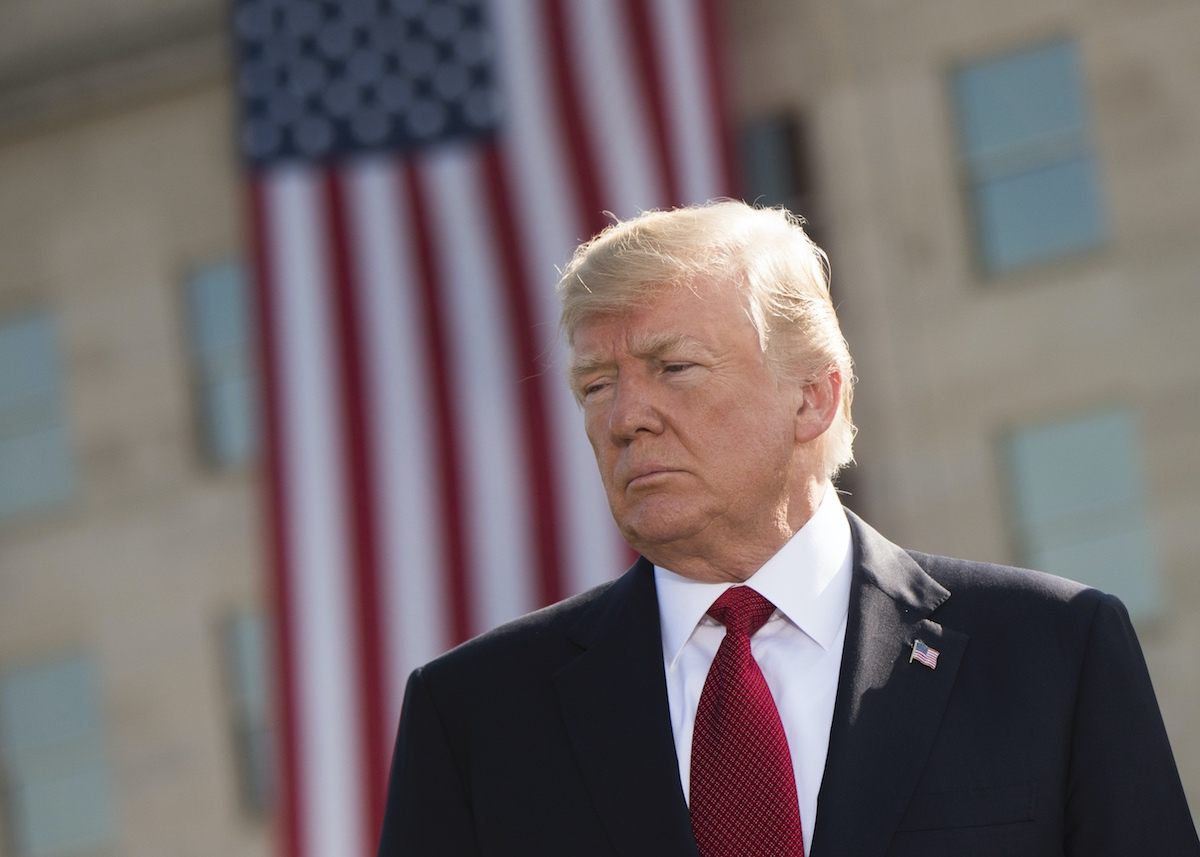 President Donald Trump pauses during the 9/11 Observance Ceremony at the Pentagon in Washington, D.C., Sept. 11, 2017. (Source: Chairman of the Joint Chiefs of Staff)