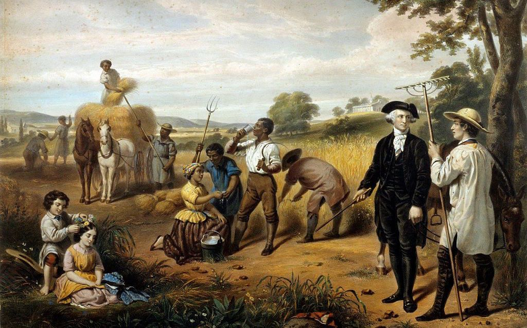 Washington standing among African-American field workers; Mt. Vernon in background. Hand-colored lithograph by Régnier (lithographer), after a painting by Junius Brutus Stearns (1810-1885). Printed by Lemercier, Paris (printer) – Library of Congress Prints and Photographs Division