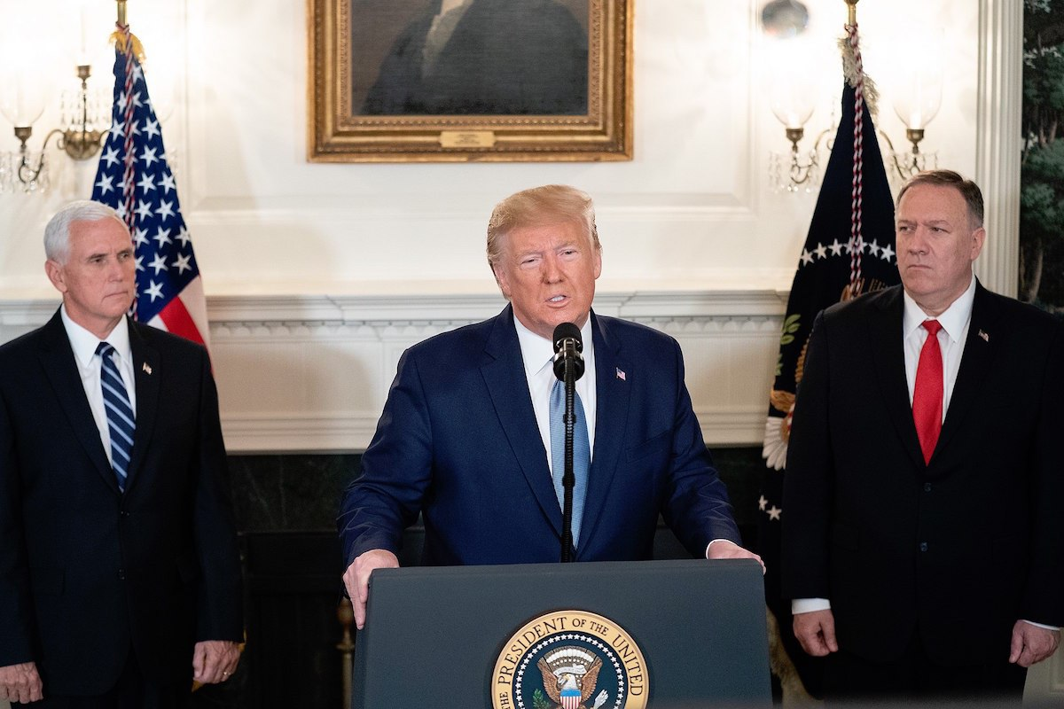 President Donald J. Trump, joined by Vice President Mike Pence, addresses his remarks Wednesday, Oct. 23, 2019, in the Diplomatic Reception Room of the White House. (Official White House Photo by Shealah Craighead)