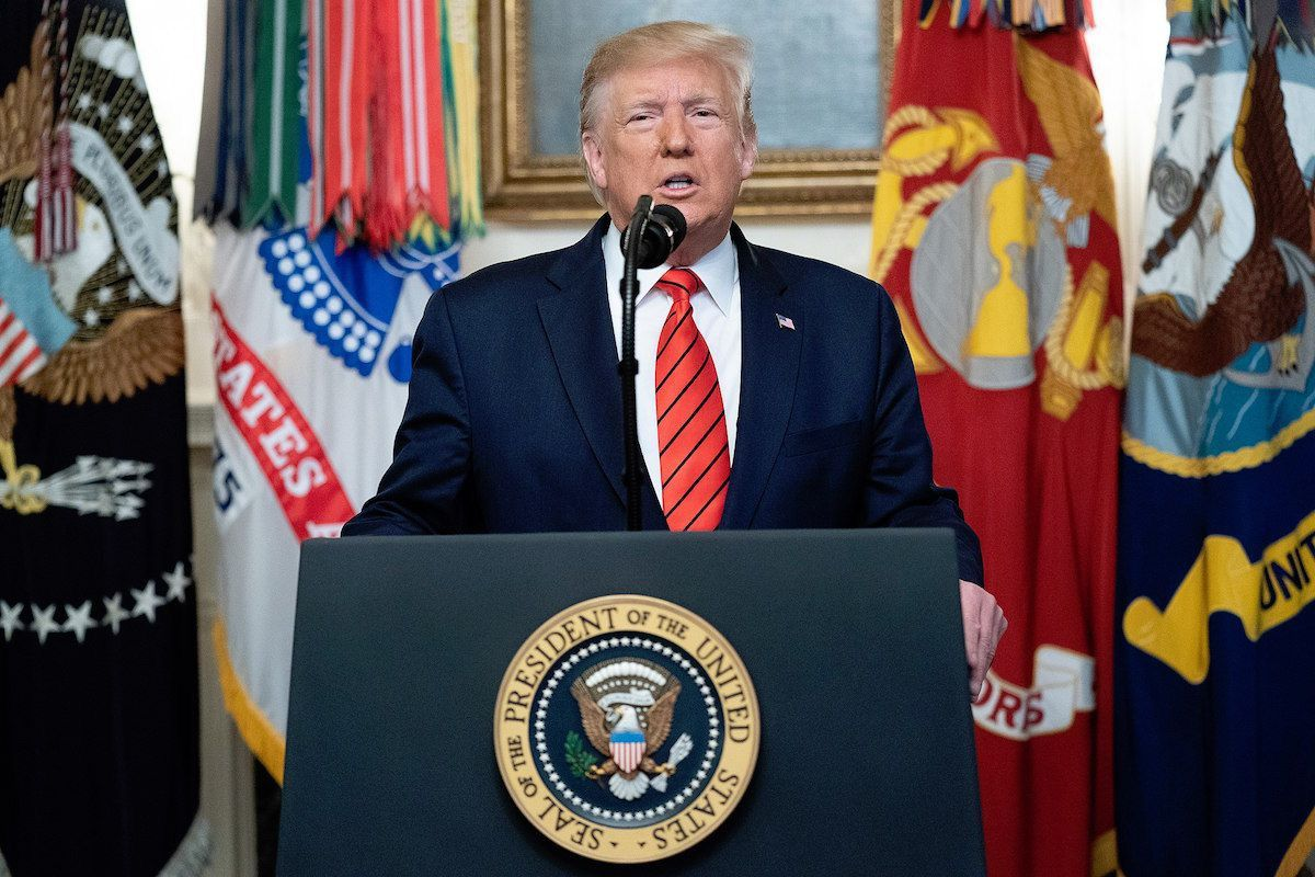 President Donald J. Trump addresses his remarks to the nation Sunday morning, Oct. 27, 2019, in the Diplomatic Reception Room of the White House. (Official White House Photo by Shealah Craighead)