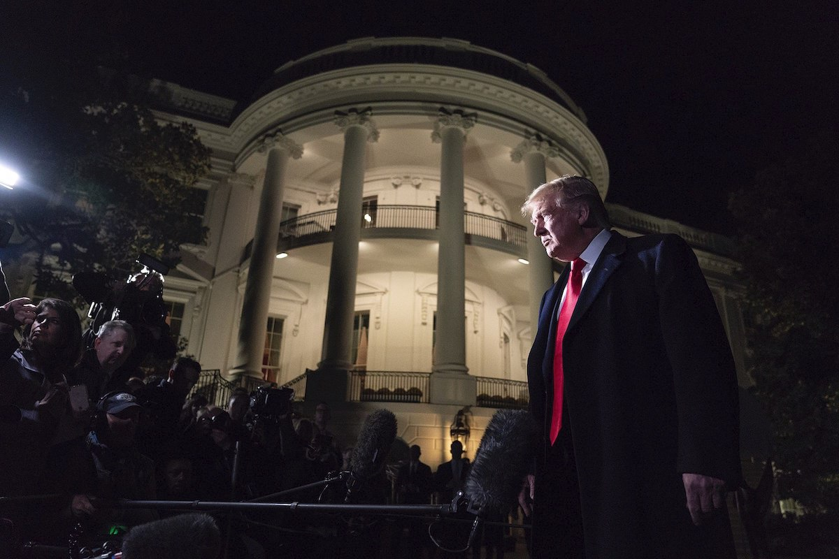 President Donald J. Trump talks to members of the press on the South Lawn of the White House Saturday, November 2, 2019, prior to boarding Marine One to begin his trip to New York City. (Official White House Photo by Joyce N. Boghosian)