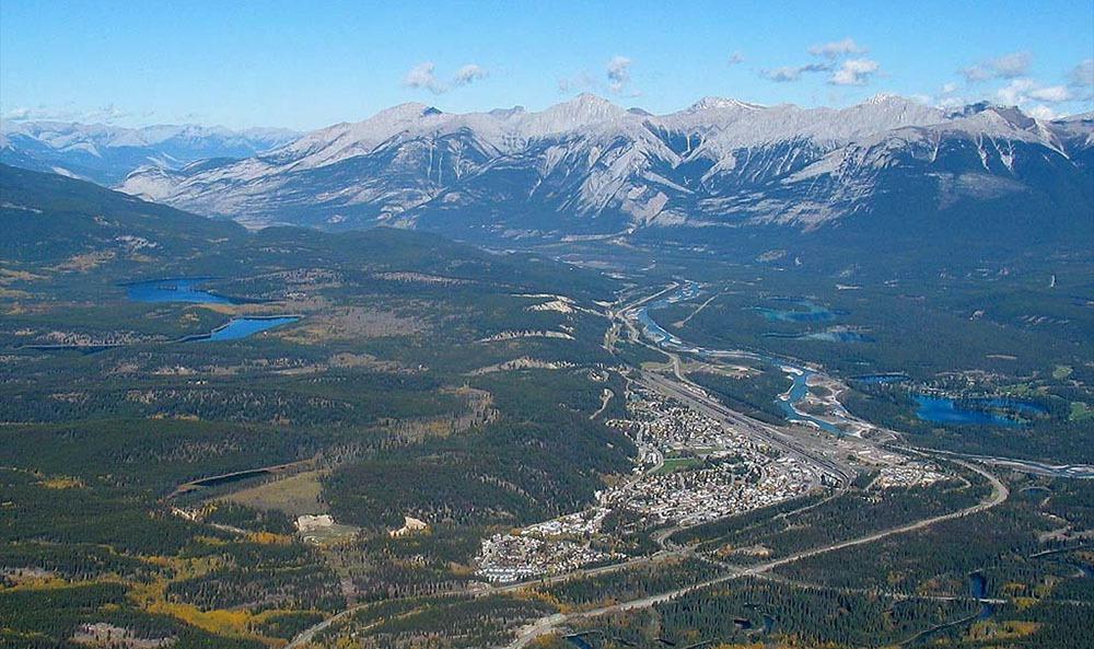 Areal view of Jasper, Alberta