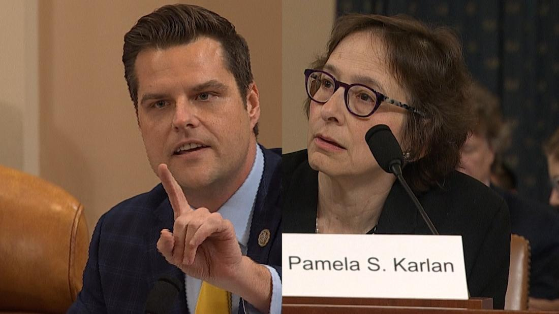 Rep. Matt Gaetz (R-FL) and law professor Pamela Karlan (CNN)