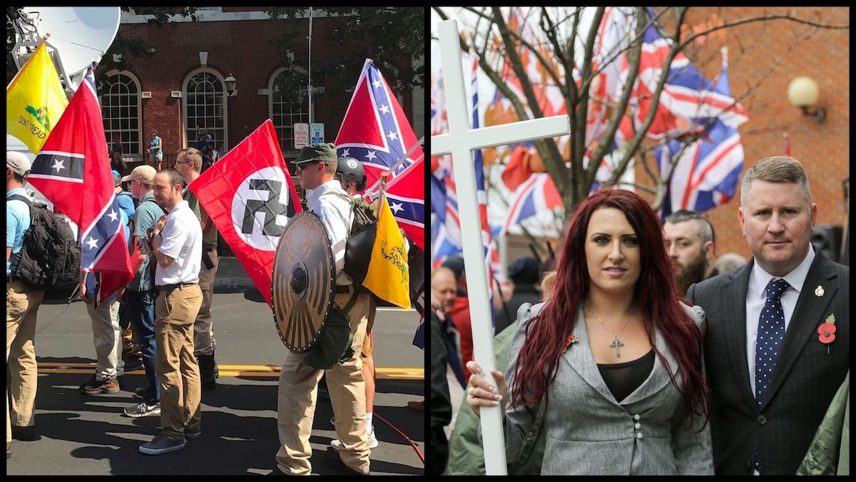 "Left: The August 2017 Charlottesville ""Unite the Right"" Rally (Photo Credit: Anthony Crider/Creative Commons). Right: Jayda Fransen and Paul Goulding, leaders of the far-right group Britain First, at a rally in London on November 4, 2017. (AP)"