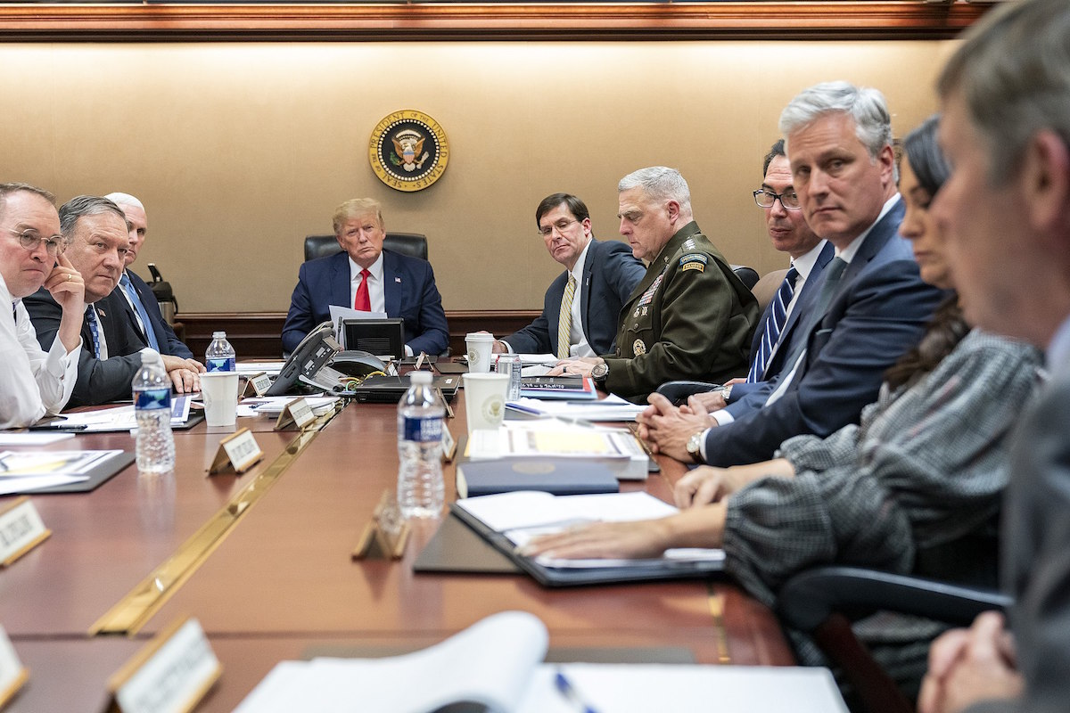 President Donald J. Trump, joined by Vice President Mike Pence, meets with senior White House advisors Tuesday evening, Jan. 7, 2020, in the Situation Room of the White House, on a meeting about Iran's missile attacks on U.S. military facilities in Iraq. (Official White House Photo by Shealah Craighead)
