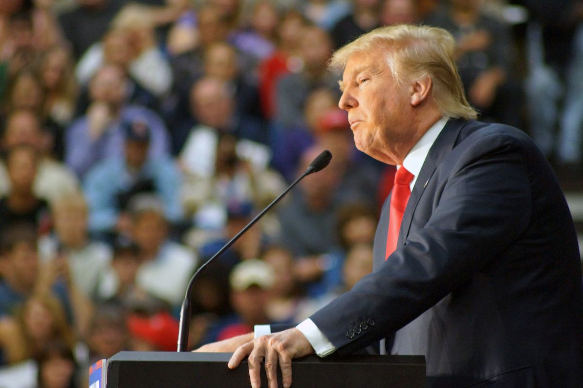 Donald Trump speaks to record crowds at the Prairie Capital Convention Center in Springfield, IL on November 9th, 2015<br />(Tommy Jeffers/Dreamstime.com
